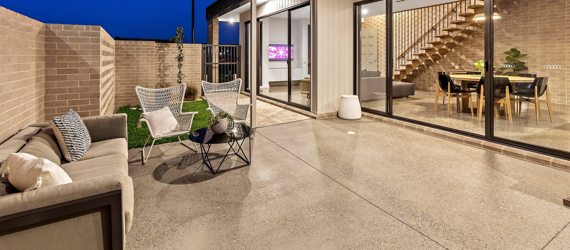 Outdoor setting showcasing polished concrete floors