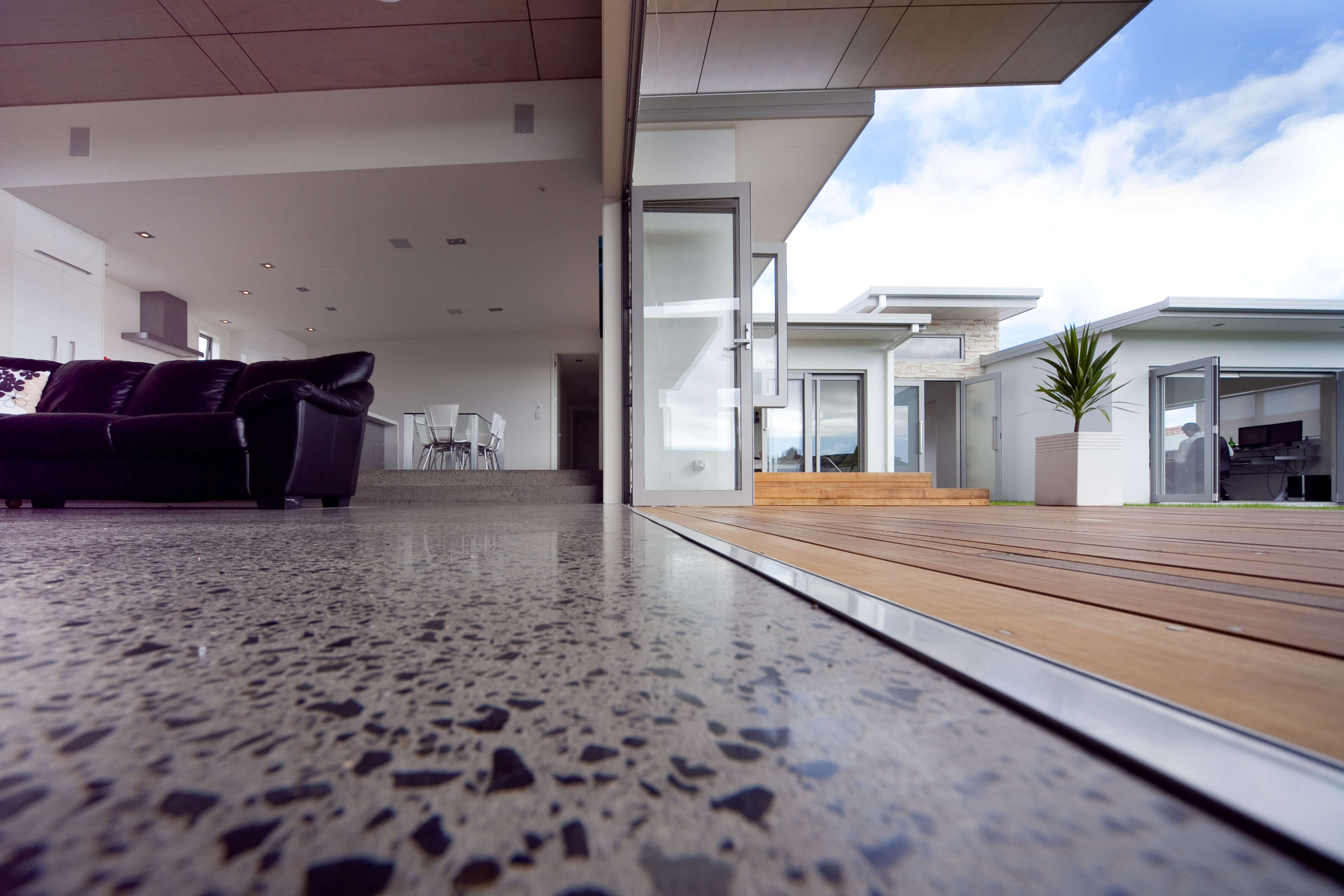low angle shot of concrete floor in modern home