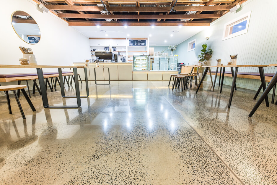 Polished flooring in empty cafe