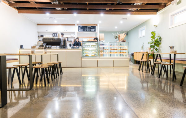 Polished concrete in Bakers duck cafe