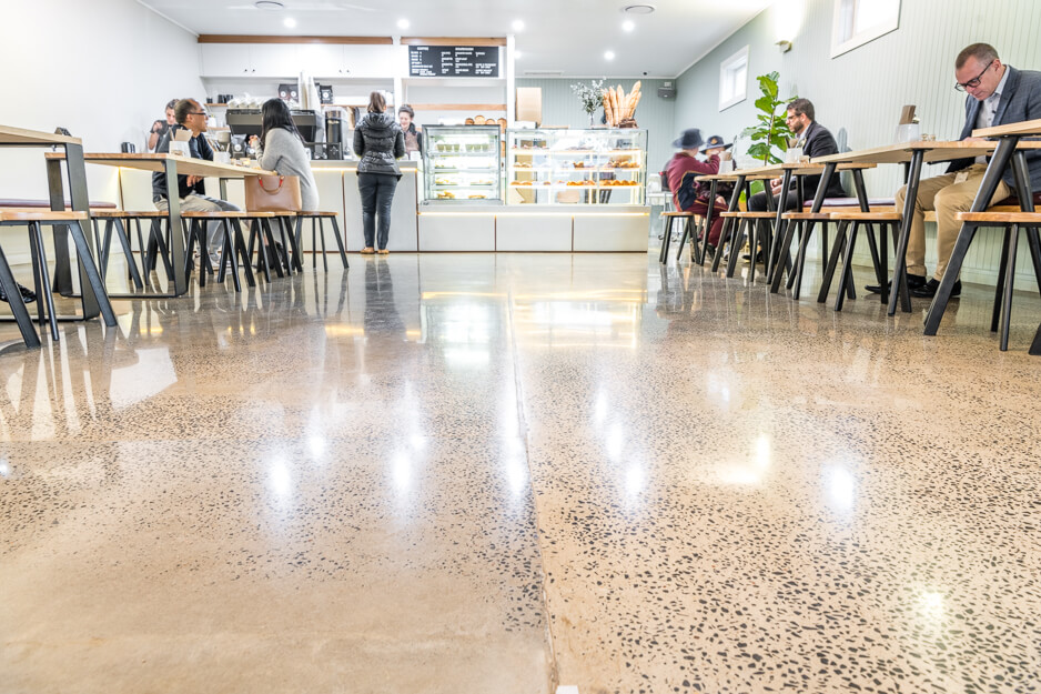 low angle shot of customers and floor in Bakers Duck