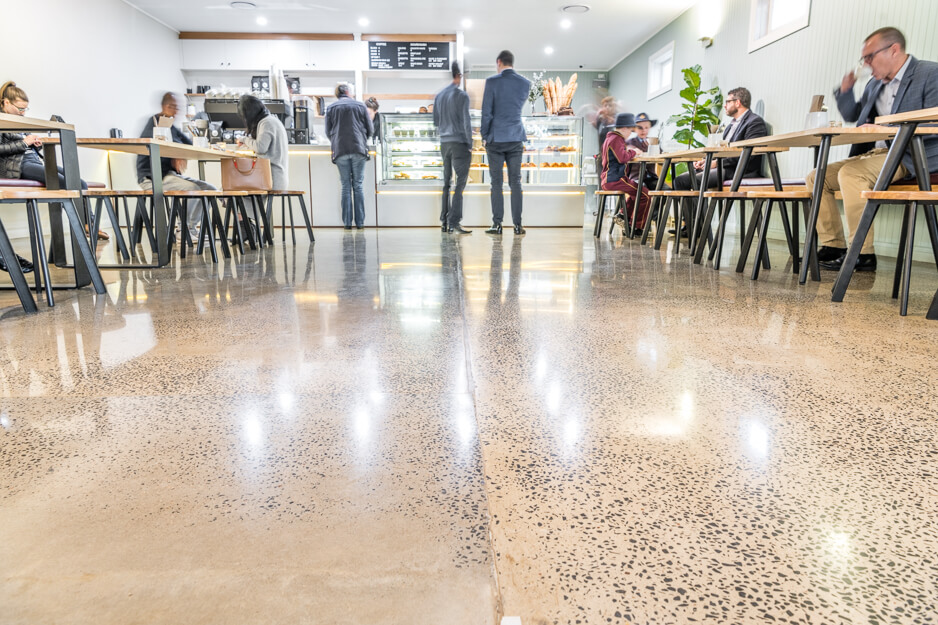 Low angle shot of polished concrete in Bakers duck cafe