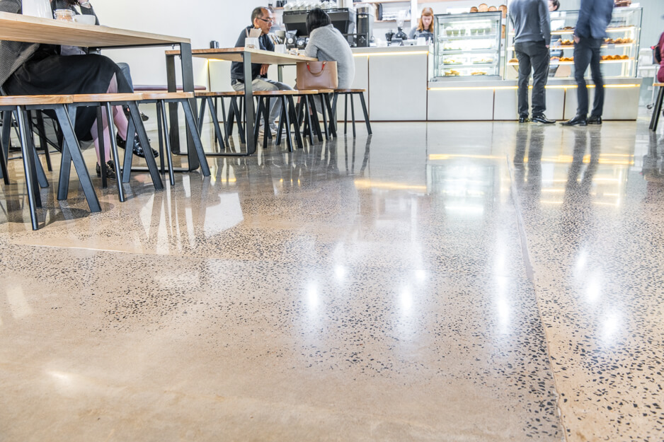 concrete floor in busy cafe