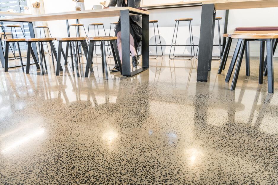 concrete floor in The Bakers Duck cafe