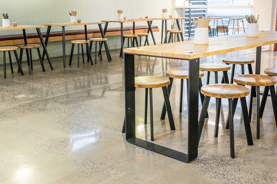 polished floor in empty cafe