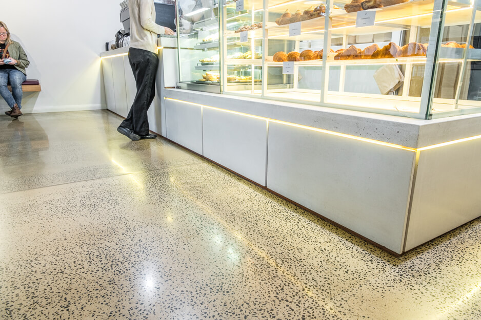 concrete flooring in a cafe