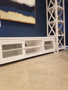 white finish on concrete floors in a living room