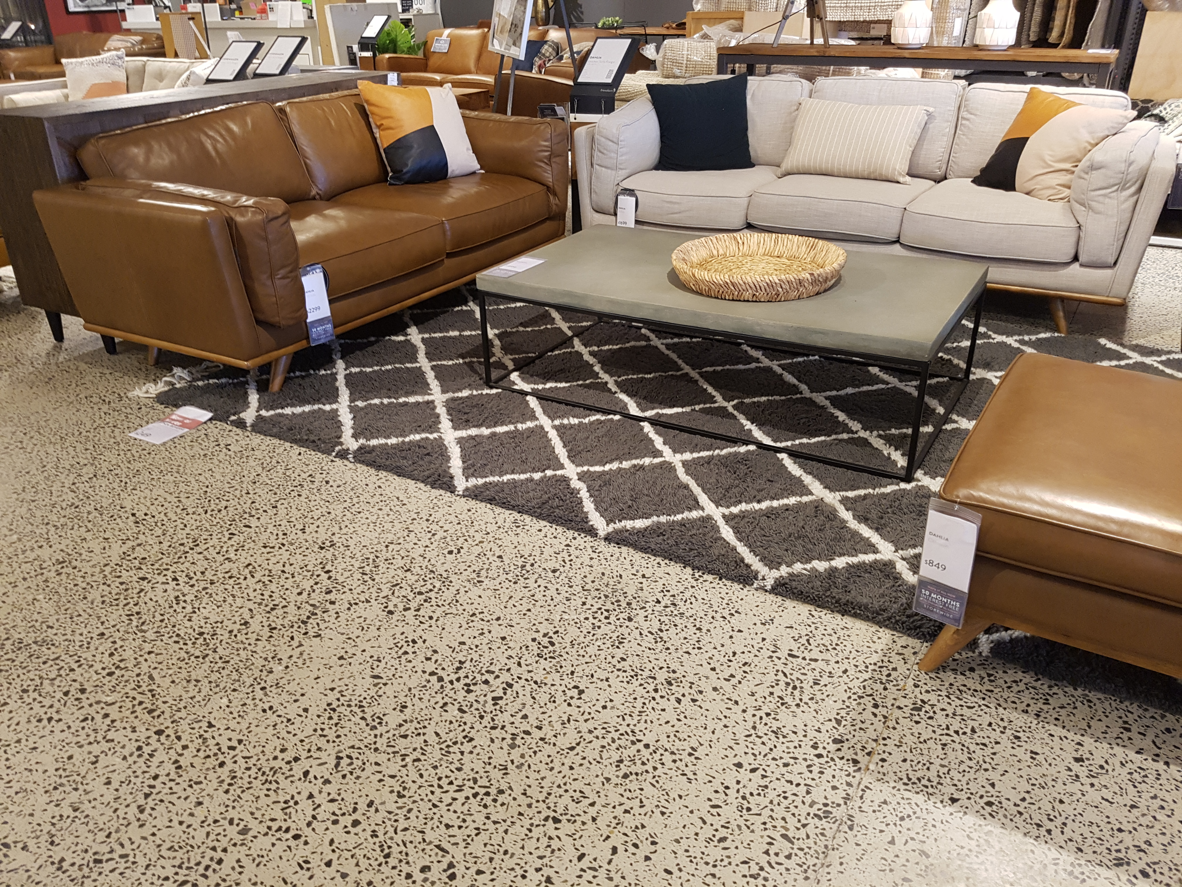 display living area in Freedom furniture