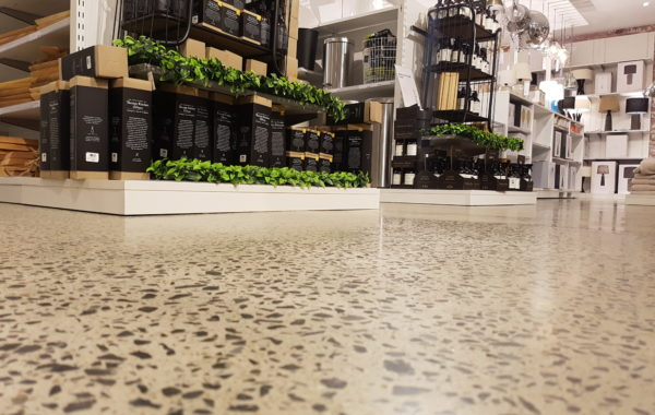 concrete flooring in a retail showroom