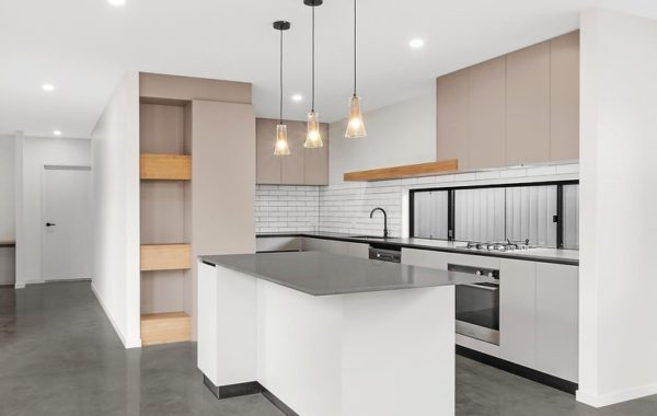 modern kitchen with concrete floor