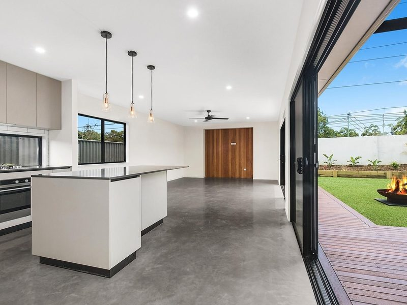 residential concrete flooring in open plan home