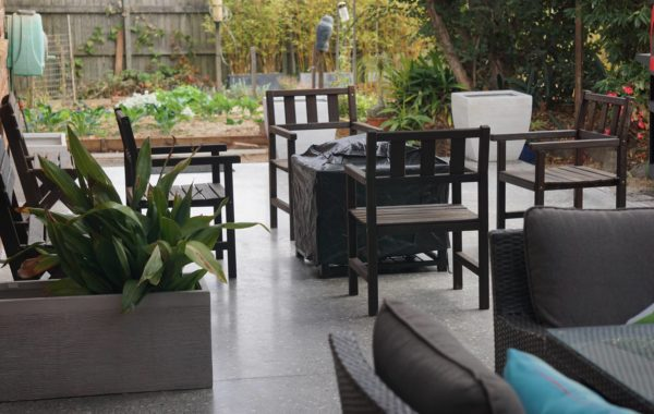 Concrete flooring in an outdoor patio setting
