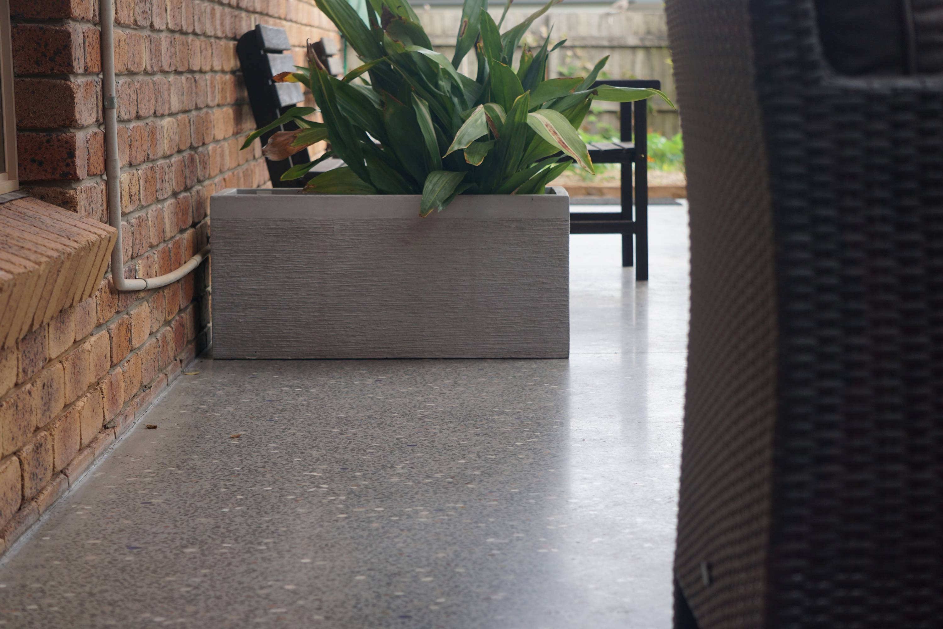 polished concrete floor in outdoor setting