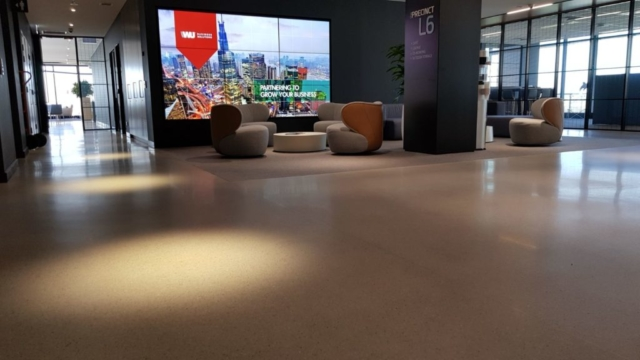 polished concrete floor in a foyer