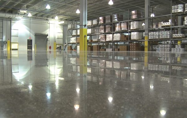 polished concrete flooring in a warehouse