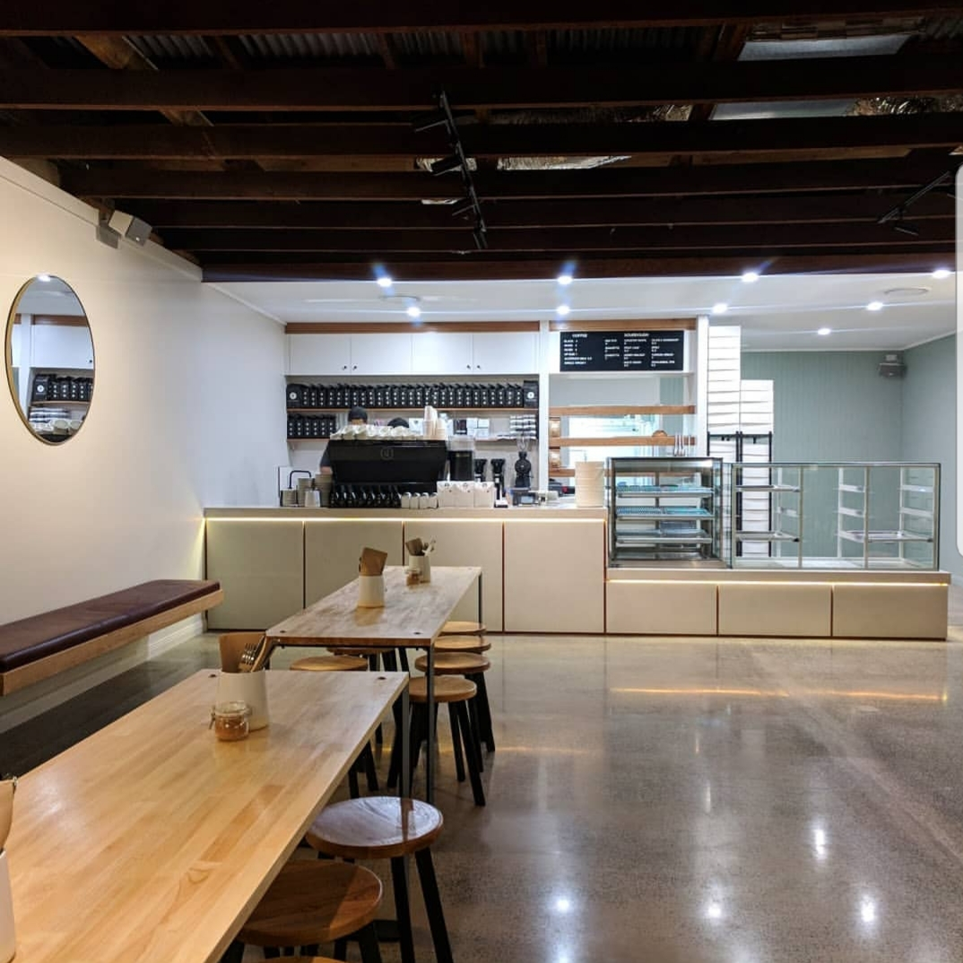 polished concrete floors in The Bakery Duck Cafe