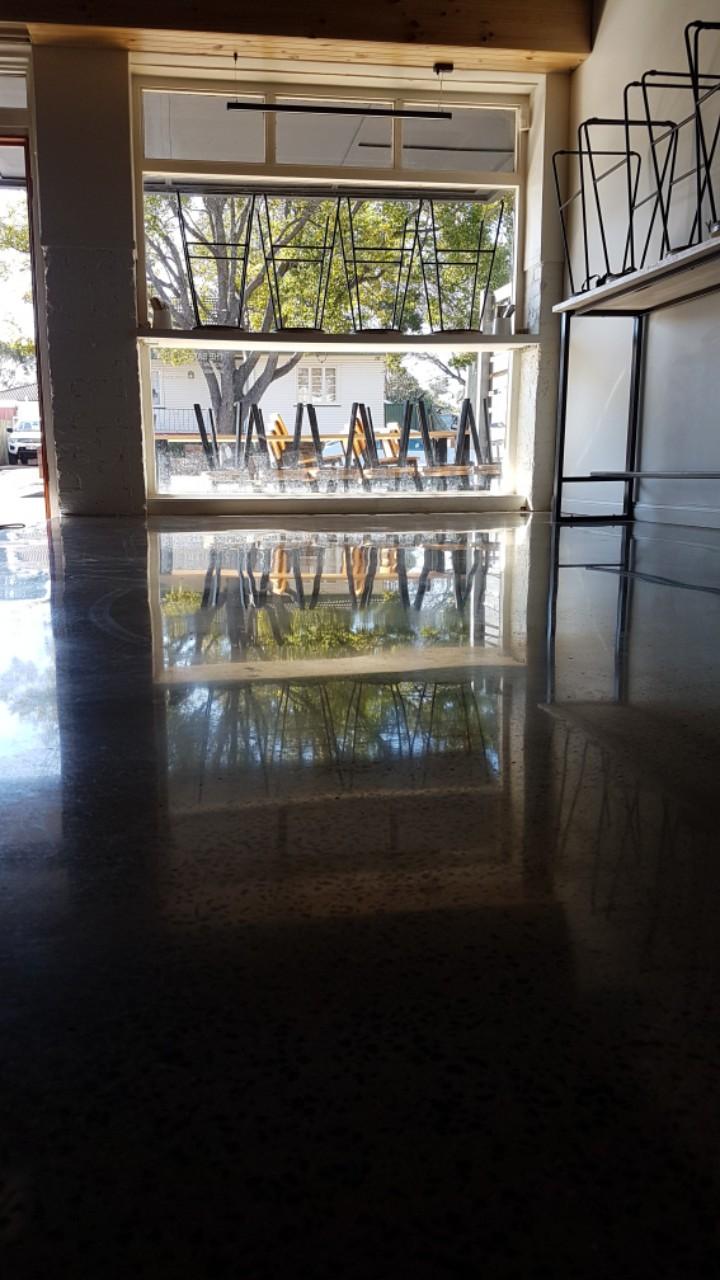 Concrete floor in the Bakery Duck Cafe